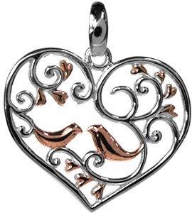 In argento Sterling 925 a forma di cuore in argento placcato oro rosa con ciondolo a forma di uccellini
