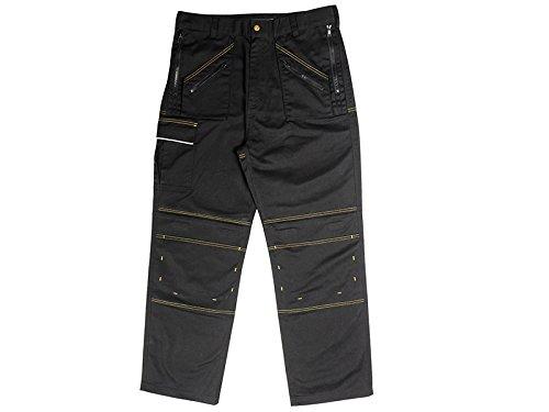 38-taille 29 Bein (Roughneck Clothing mzt3829multi-zip Arbeitshosen mit 96,5cm Taille/73,66cm Bein–Schwarz)