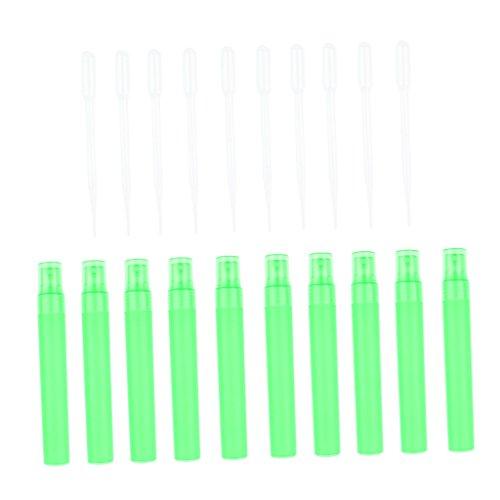 D DOLITY Lot de 10x Atomiseur Rechargeable Bouteille de Jet de Parfum + 10x Ventouse Tube - Vert