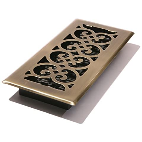 Decor Grates SPH410-A 4-Inch by 10-Inch Scroll Floor Register, Antique Brass by Decor Grates
