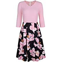 Bright Deer Women V Neck Sleeved 2 in 1 Floral Midi Smock Dress with Pockets