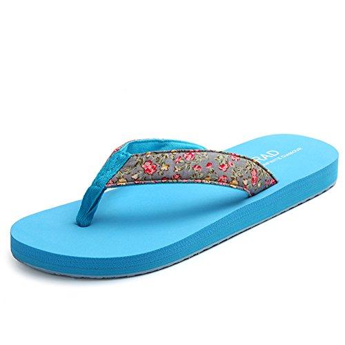 Piccole signore fondo piatto floreale e infradito/Scivolare in spiaggia-scarpe estive per il tempo libero/La versione coreana di pantofole A