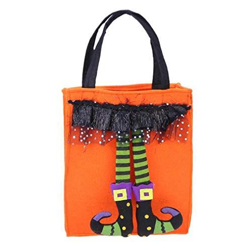 MOONQING Halloween Tote Handtaschen Wiederverwendbare Lebensmittel Süßigkeiten Süßes oder Saures Tragetaschen Party-Deko-Vliestaschen, orange