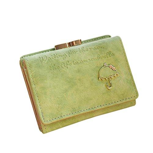 Portafoglio Donna, DDLBiz® Donne Ombrello Portafoglio in pelle pulsante della frizione della borsa (rosa caldo) verde