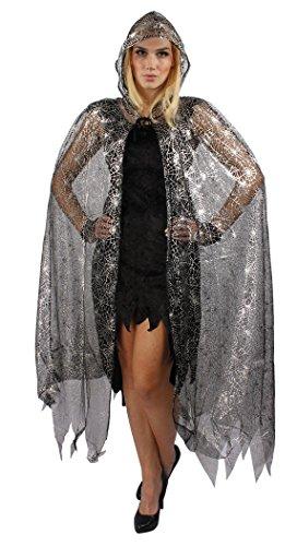 Kostüme Hexen (Hexen-Umhang in Spinnennetz-Optik mit Kapuze in Schwarz & Silber | Hexen-Zubehör für Halloween & Karneval | Accessoire für Hexen-Kostüm, Teufel-Kostüm oder)
