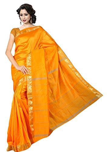 Generic The Fabrics Station Designer-Seide Sari, handgefertigt, für Partys, Hochzeiten, Abendveranstaltungen, Partys, Abendkleidung, Trachtenkleidung, 26 Farben, Goldgelb, Einheitsgröße