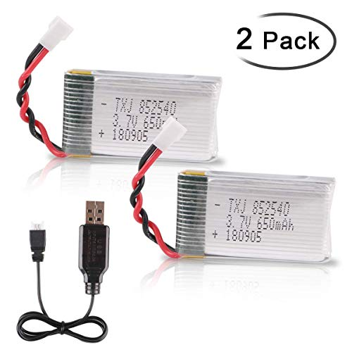 Crazepony-UK 2PCS 3.7V 650mAh Lipo Batteria with USB Charger for RC UAV Drone Vehicle Syma Heliway Skytech Cheerson MJX And 8520 Motors Battery