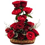 Floralbay Special Basket Arrangement of 14 Red Roses Fresh Flowers