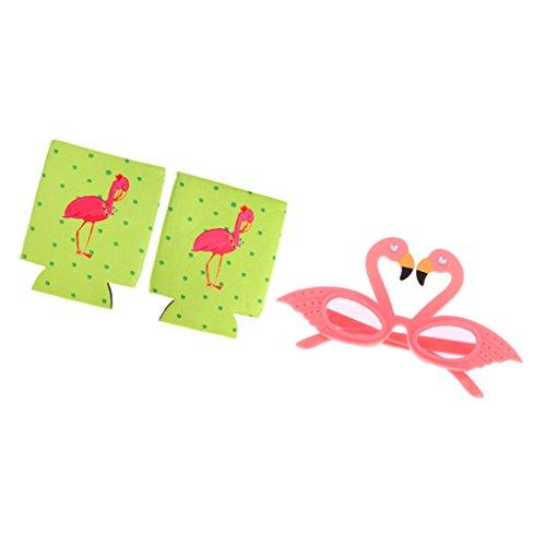 LOVIVER Satz Von 3 Stück Hawaiian Flamingo Party Brille Und Tin Can Cooler Sleeve (Soda Flasche Kostüm)