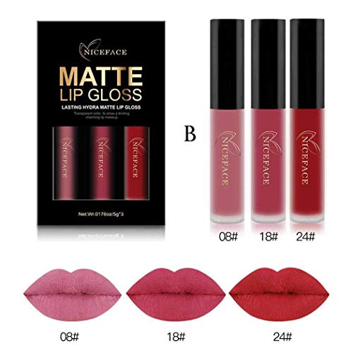 Arteki 3PCS Waterproof Matte Liquid Lipstick Cosmetic Sexy Lip Gloss Kit -