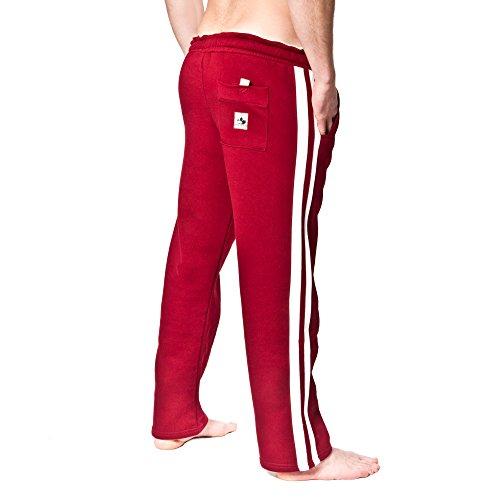 SMILODOX Herren Jogginghose | Trainingshose für Sport Fitness Gym Training & Freizeit | Sporthose - Jogger Pants - Sweatpants Hosen - Freizeithose Lang Rot/Beige