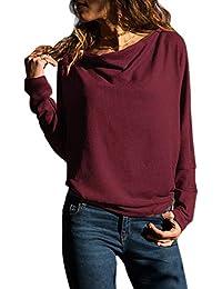 e52c9f78a8d0 Dokotoo Femme Casual Pull Manches Longues Slim T Shirt Elégante Couleur  Unie ...