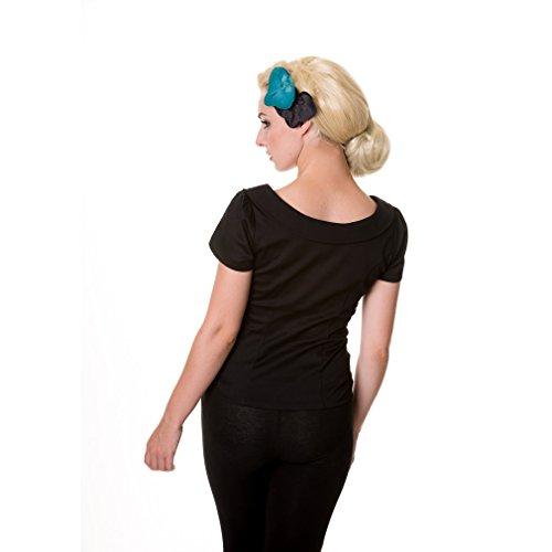 Banned Damen Retro Bluse Schleife und Zierknöpfe - Collar & Tie Rockabilly Oberteil Schwarz (XS) -