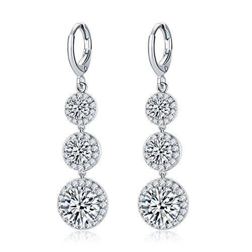 Jewels Galaxy Crystal Elements Exclusive Limited Edition Sparkling Colors Platinum Plated Splendid Drop Earrings For Women/Girls (White)
