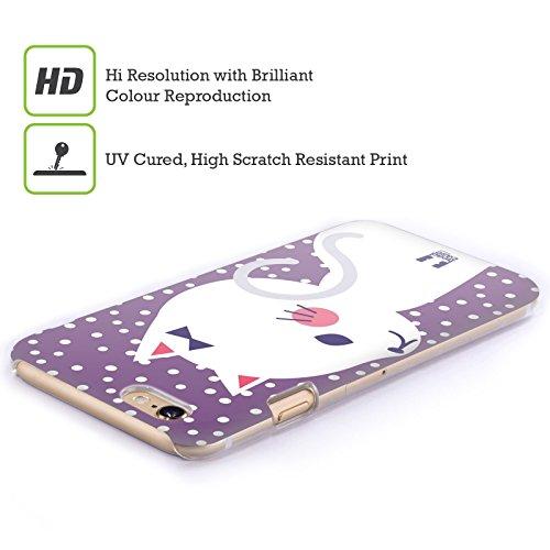 Head Case Designs Nero Gatti A Pois Cover Retro Rigida per Apple iPhone 7 Plus / 8 Plus Gatto Bianco E Porpora