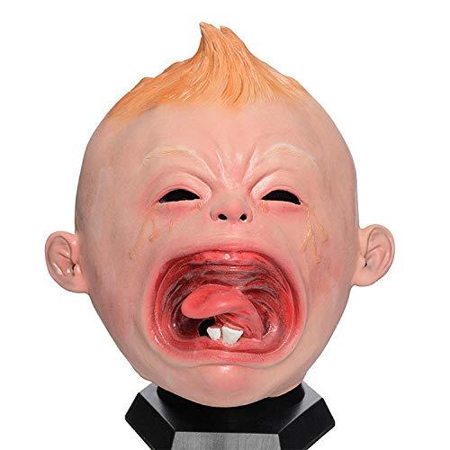 fcywai Halloween Mask,Cute Schreien Doll Kreativ Neuheit Latex Masken Erwachsene Scary Kids Spaß Rave Kostüm Requisiten Partei Schutzmaßnahmen Airsoft Paintball Karneval - Scary Doll Halloween Kostüm