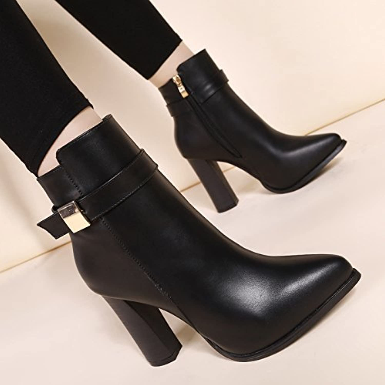 khskx-new invierno botas y Rough tacones botas Fashion hembra Martin señaló desnuda botas y zapatos de algodón...