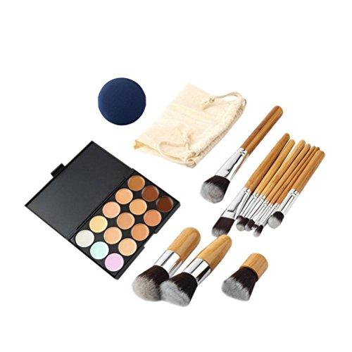 15 COULEURS MAQUILLAGE Correcteur Palette + 11 pcs Bambou Brosse + 1 PC String Sac de maquillage + 1 PC éponge de maquillage
