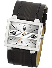 K Swiss P819.04KS - Reloj analógico de caballero de cuarzo con correa de piel negra - sumergible a 10 metros