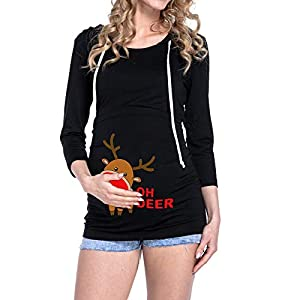 YWLINK Damen Weihnachten Rudolf Pullover Mutterschaft Stillen Oberteile LangäRmelige Schwangere Kapuzenbluse Sweatshirt