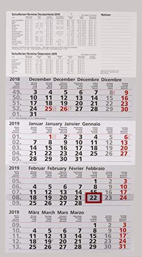 Calendario Con Note.2019 Calendario Quattro Mesi Con Vacanze Scolastiche E Note