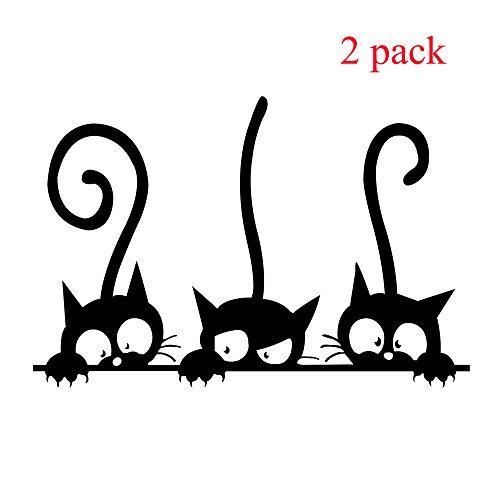 süsse Katzen Wandaufkleber drei lustige Kätzchen dekorative Wandkunst Aufkleber für Kinderzimmer Kinderzimmer Wohnzimmer Schlafzimmer Toilette Heimtextilien - Lustige Kätzchen