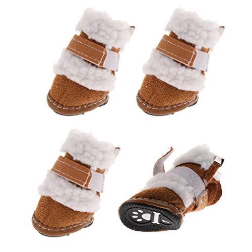 KESOTO 4pcs Hundeschuhe Schneeschuhe Winter Schuhe Stiefel für Kleine Hunde - Khaki, S