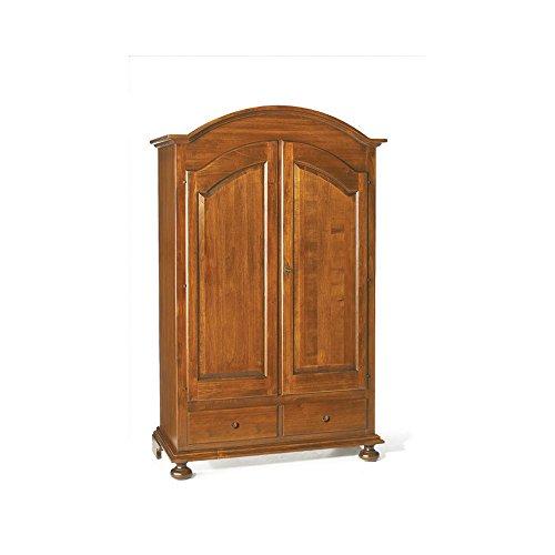 Inhouse srls armadio a 2 ante cappello tondo, arte povera, in legno massello e mdf con rifinitura in noce lucido - mis. 125 x 61 x 200