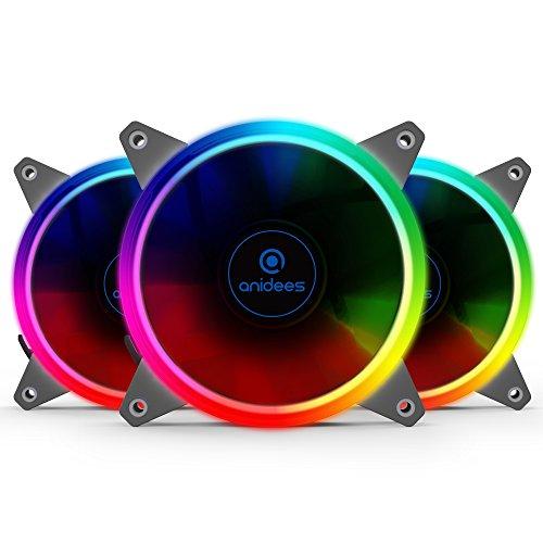 Anidees AI Aureola Ventilador RGB de 120 mm para ventilador de caja,paquete de 3 juegos con control...