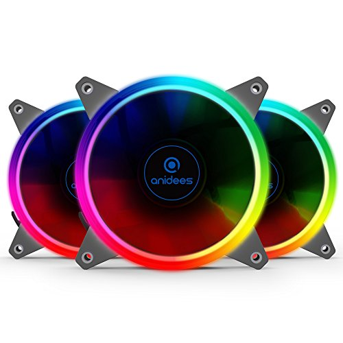Anidees ai aureola 120mm RGB ventola per case ventola CPU, ventola di raffreddamento ad acqua, 3pezzi Set con telecomando–RGB (ai-aureola)