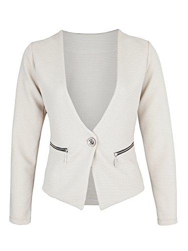 Danaest - Veste de tailleur - Blouson - Uni - Manches Longues - Femme XX-Large Beige