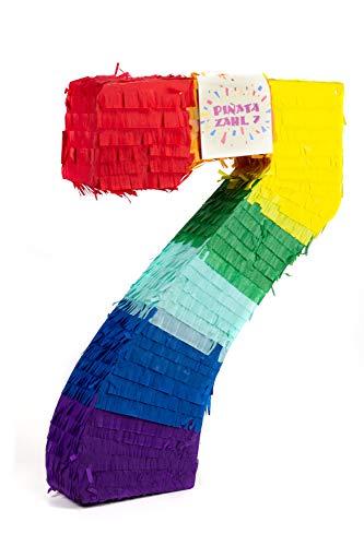Und Kostüm Pinata Mädchen Geburtstag - Trendario Pinata Zahl 7 - Mehrfarbig - ungefüllt - Ideal zum Befüllen mit Süßigkeiten und Geschenken - Piñata für Kindergeburtstag Spiel, Geschenkidee, Party, Hochzeit
