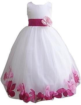 ZAMME Boda de la flor de las muchachas Vestido Niña primera comunión Maxi vestido de princesa