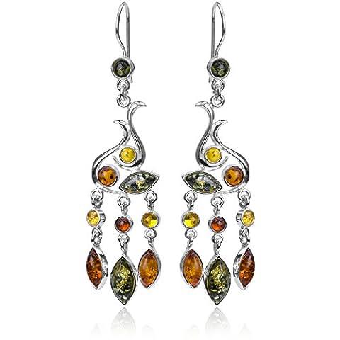 Ambre multicolore Argent sterling Marquise Chandelier Attaches de type Boucles d'oreilles en forme