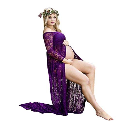 K-youth® Mujer Embarazada Encaje Larga Vestido de maternidad Split Foto Shoot Dress Faldas fotográficas de maternidad Fotográficas de maternidad Apoyos De Fotografía (Violeta, L)