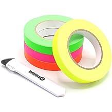 Gewebeband Klebeband neon gelb 19 mm x 25 m, inkl. individuall® Cuttermesser