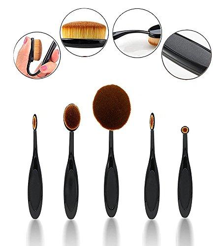 Ovale de maquillage pinceaux de cineen Lot de 5 professionnelle Foundation Concealer Pinceaux Cosmétiques, Brosse à dents courbes Pinceaux de Maquillage pour le visage et yeux