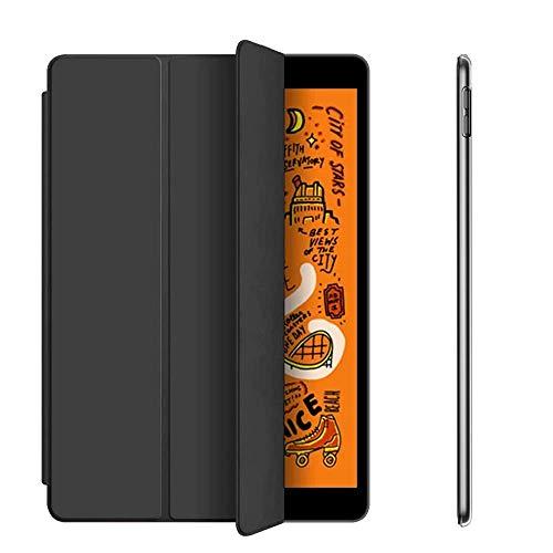aoub Hülle für iPad 9.7 2018/2017 Utradünn superleicht DREI Falten sturzsicher robust transparente Rückseite Schutzhülle mit Auto Schlaf/Wach für iPad 6. Generation / 5. Generation(Schwarz) (Charme Für Das Ipad)