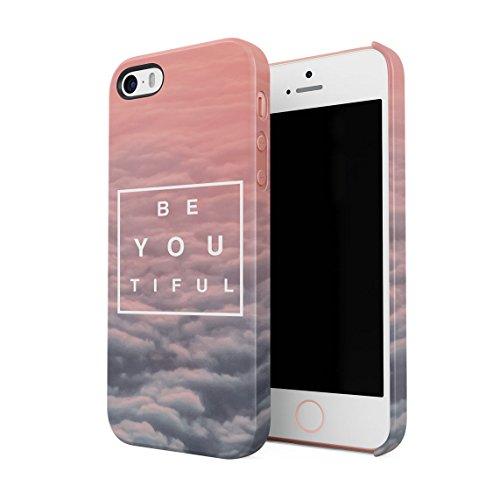 Beautiful Cute Be Youtiful PClouds Tumblr Dünne Rückschale aus Hartplastik für iPhone 5 & iPhone 5s & iPhone SE Handy Hülle Schutzhülle Slim Fit Case Cover
