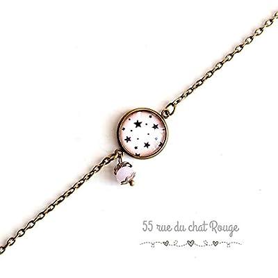 bracelet chaine fine, cabochon étoiles, rose, féérie, fée, magique, breloques, bracelet fin