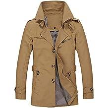 AMUSTER Inverno Autunno Uomo Fashion Casual Confortevole Uomo Inverno  Cappotto Caldo Giacca Outwear Slim Lunga Trench 9e8b933ddd8