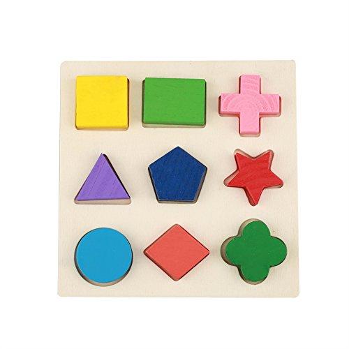 Zerodis Holz Steckwürfel Geometrie Puzzle Baustein Bunt Matching Motorik Pädagogisches Lernspielzeug Früherziehung Kindertag Geschenk für Kinder Kleinkinder(#1)