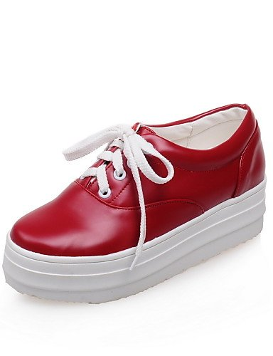 ZQ Scarpe Donna - Stringate - Formale / Casual - Creepers / Punta arrotondata - Plateau - Finta pelle - Nero / Rosso / Bianco , red-us10.5 / eu42 / uk8.5 / cn43 , red-us10.5 / eu42 / uk8.5 / cn43 red-us3.5 / eu33 / uk1.5 / cn32