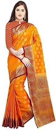 Rajnandini Mustard Silk Kanjivaram Traditional Saree For Women