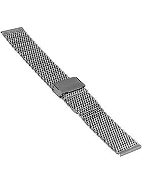 Uhrenarmband, Edelstahl, Milanaise, Mesh, verschd. Größen und Farben, ST2906 (22 mm, silber)
