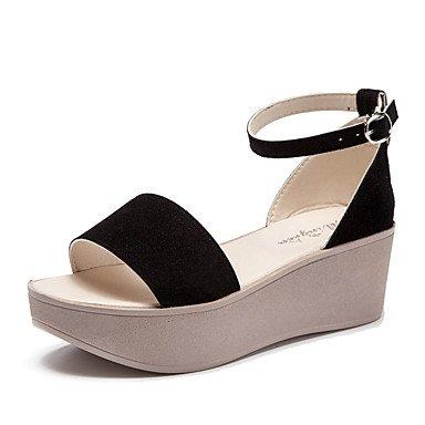 RUGAI-UE Sommer Mode Frauen Sandalen Schuhe Casual PU Komfort Heels Outdoor Wandern, Mandel, uns 4-4,5/EU 34/ UK 2-2,5/CN33 Black