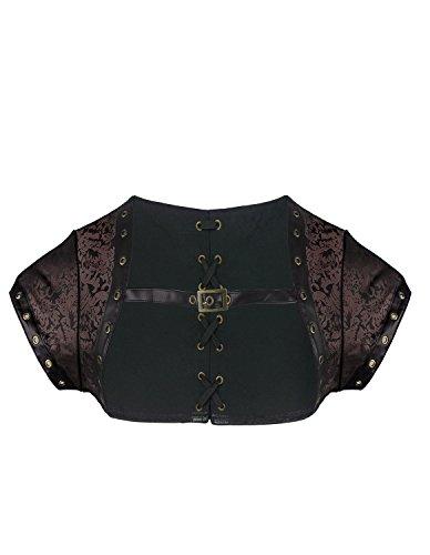 Burvogue, giacca da donna in broccato, accessorio per costume di halloween in stile steampunk marrone brown xxxl