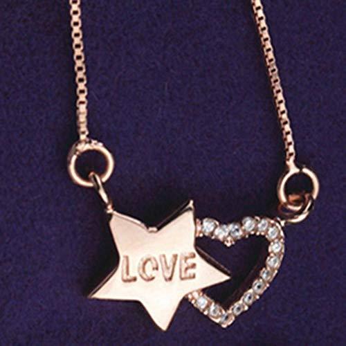 YANRR Damen Silber Halskette Pentagramm Herz Anhänger 925 Silber Kristall Diamond Lady Schlüsselbein Kette