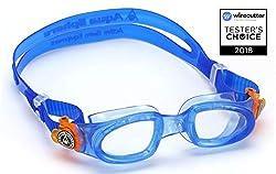 Aqua Sphere Unisex Jugend Moby Kid Schwimmbrille, Klare Gläser - Blau/Orange, One Size