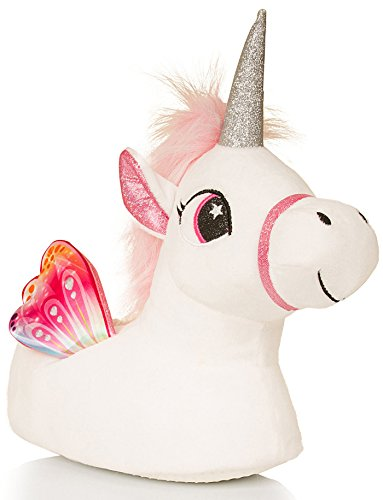 Loungeable Cute Kids, Girls Novelty 3D Unicorn Slippers with Horn, Mane, Tail and Wings, White & Pink